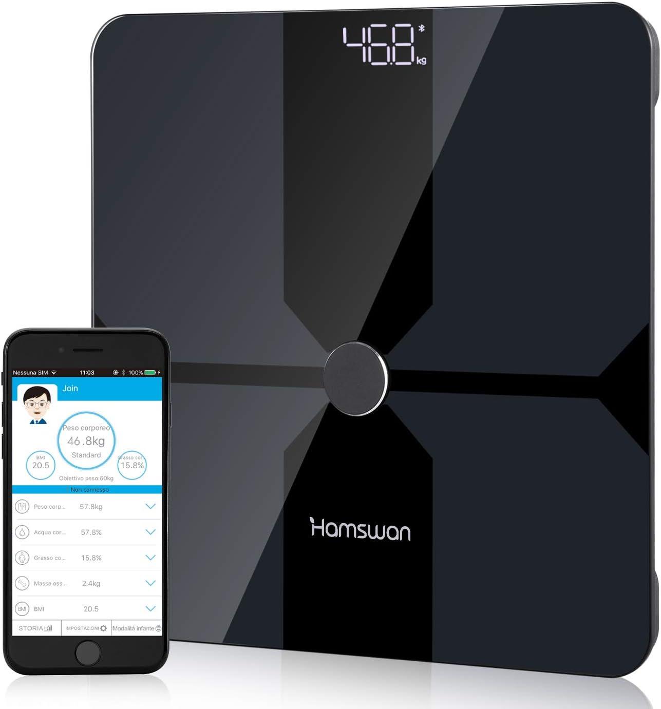 HAMSWAN Báscula Grasa Corporal Más de 14 Funciones, [2020 Versión Nueva] Báscula Analisis Corporal Bluetooth, Báscula de Baño Monitores de Composición Corporal para Móviles Andriod y iOS