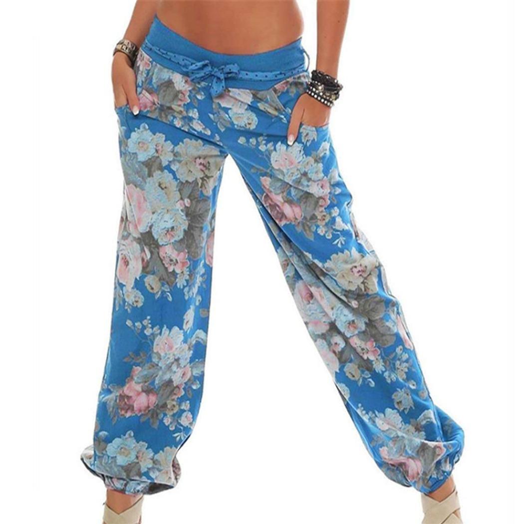 Mounter Womens Ladies Floral Trousers Long Pants Baggy Leggings Harem Pants Plus Size,Novelty Sports Yoga Workout Legging Gym Fitness Ladies Exercise Athletic Pants (Khaki, 2XL)