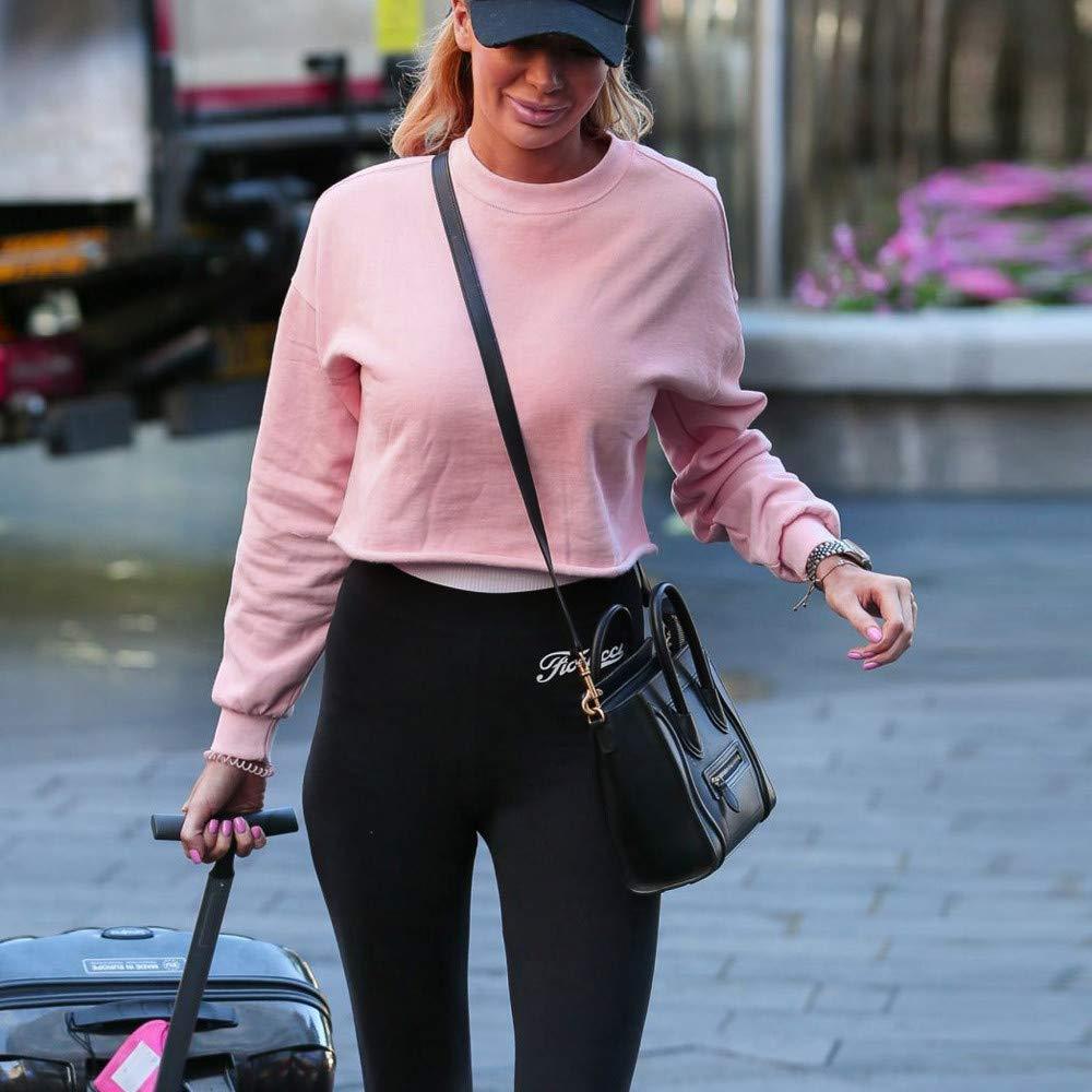 Colmkley Womens Fashion Exposed Navel Pullover Casual Loose Crop Top Sweatshirt