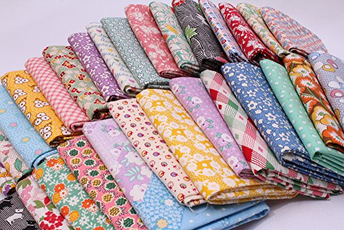 10 Fat Quarters - 1930's -1950's Reproduction Feed Sack Small Scale Floral Depression Era Vintage-look Flowers Storybook Whimsical Nostalgia Prints Assorted Fat Quarter Bundle (Vintage Feed)