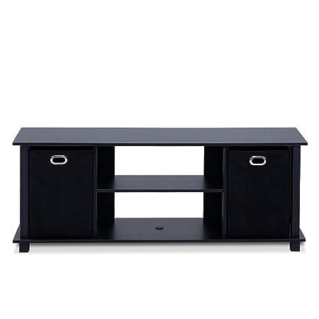 Review Furinno 13054BK/BK Econ Entertainment Center with Storage Bins, Black