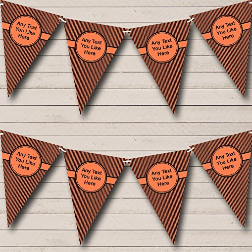 Bright Coral And Black Stripes Wedding Venue or Reception Bunting Banner