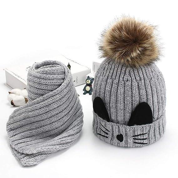 ODJOY-FAN-bambino Gattino Più velluto Cappello lavorato a maglia + sciarpa  Abito due pezzi-Bambino carino inverno neonato cappelli in lana orlo  cappello  ... ef4778dffd10