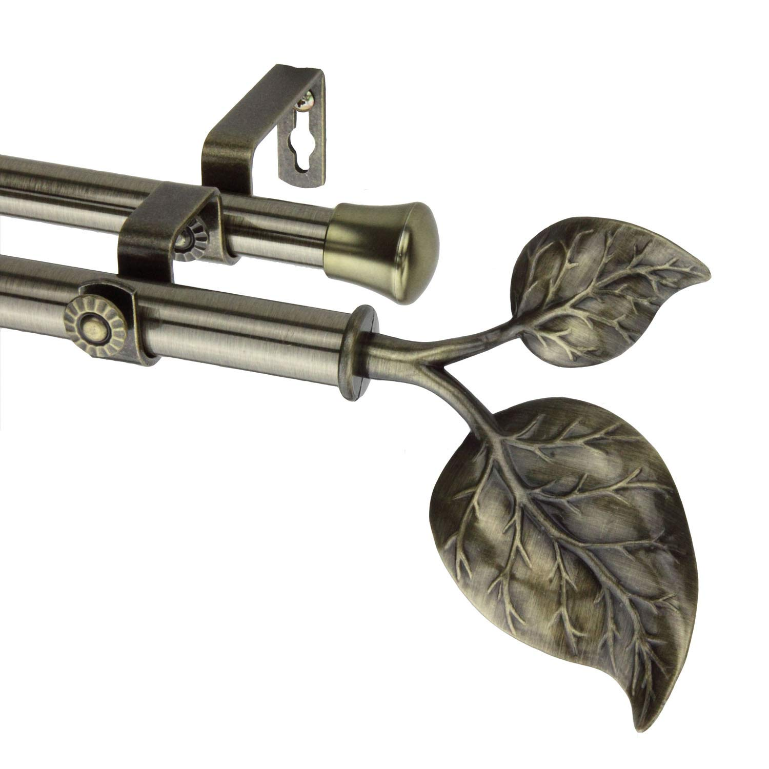Modern Ivy Double Curtain Rod in Antique Brass Size 120-170