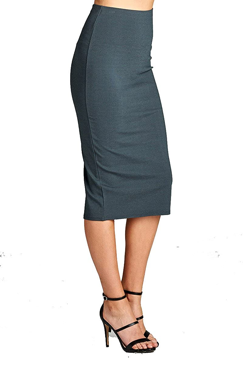 2729charcoal YourStyle Stretch Bodycon Mini Pencil Ponte Skirt