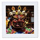 3dRose Danita Delimont - People - Costumed dancers at religious festivity, Paro Tshechu, Bhutan - 14x14 inch quilt square (qs_257045_5)