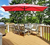 Abba Patio 6.6 by 9.8 Ft Market Outdoor Table Umbrella with Push Button Tilt and Crank, Red
