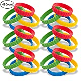48 Building Block Silicone Bracelets for Birthday Party Favors Kids Goody Bag Supplies for Boys and Girls Carnival Ninjago Novelty Rubber Wristbands