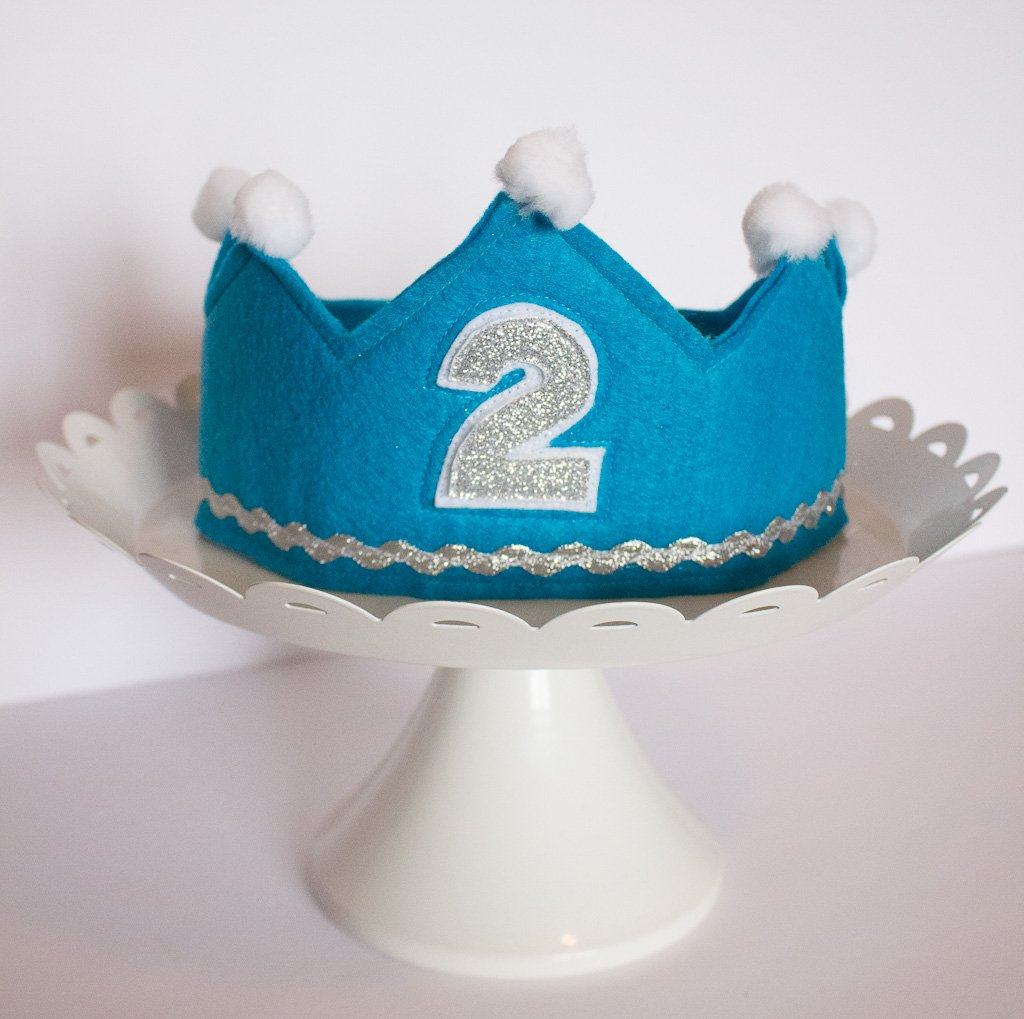 Boy Birthday Crown. Made of Felt. Prince Crown. Handcrafted in The USA. Prince Crown. Boy Prince Party Supplies.Baby Boy First Birthday Crown Number 2. Prince Cake Smash Photo Prop.