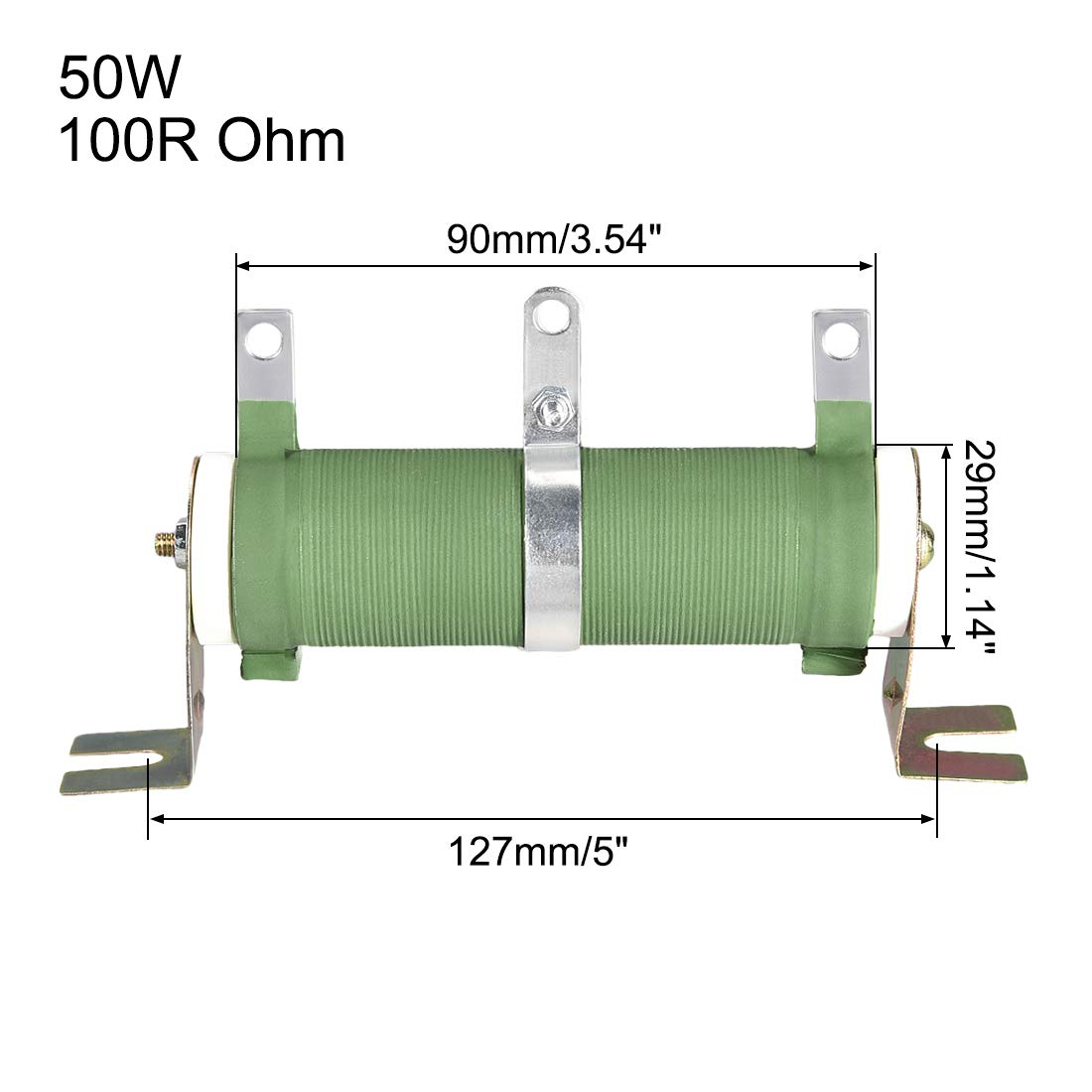 uxcell 50W Watt 100R Ohm High Power Wirewound Resistor Ceramic Tubular Adjustable Wire Wound Rheostat Resistor