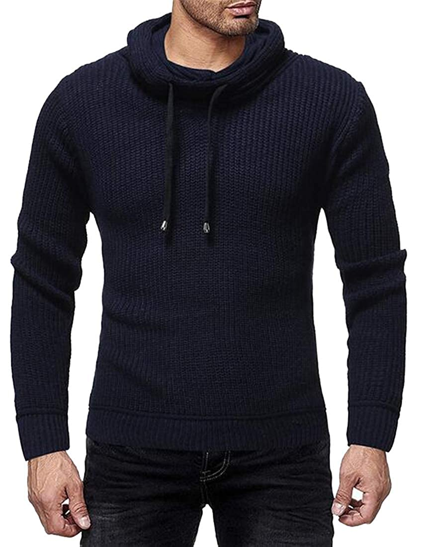 WAWAYA Men Cowl Neck Slim Fit Pure Color Knitted Warm Pullover Sweater