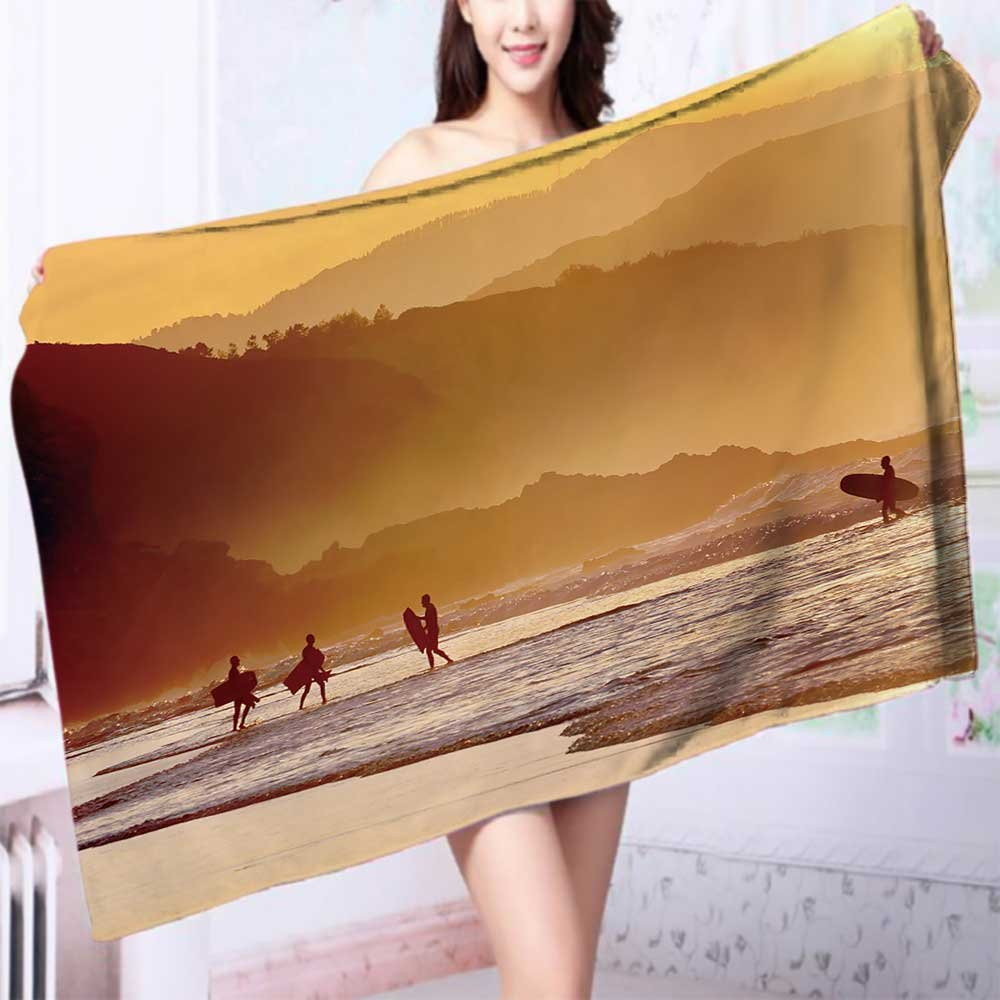 Quick-Dry Bath Towel surfers and boogie boards on beach at sunset Ideal for everyday use L63 x W31.2 INCH
