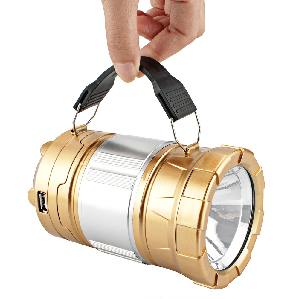 2-Pack LED Lantern, Solar Portable Outdoor Camping Collapsible Flashlight for Emergency supplies,Hurricane,Power failure, Waterproof LED Lighting (Golden)