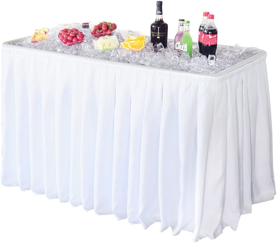 Modern Home 4' Portable Folding Party Ice Bin Table with Skirt - White