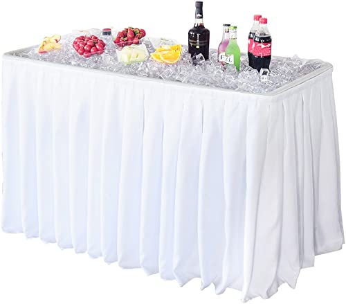 Modern Home 4 Portable Folding Party Ice Bin Table with Skirt – White