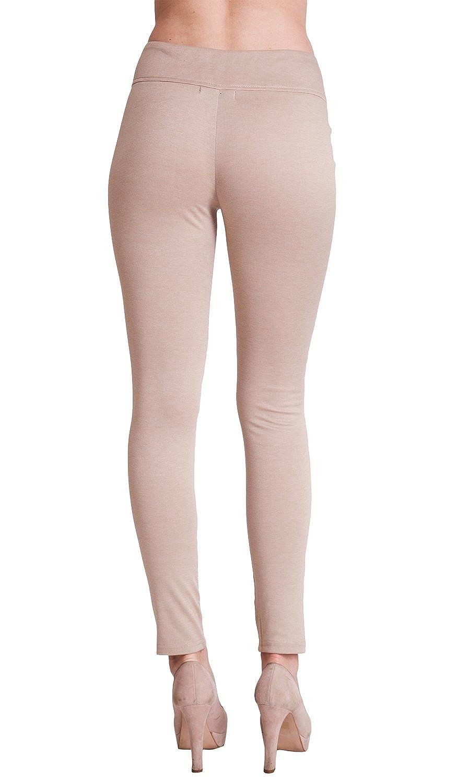 Khaki Beige Woman High-Waist Ponte Zipper Leggings at Amazon ...
