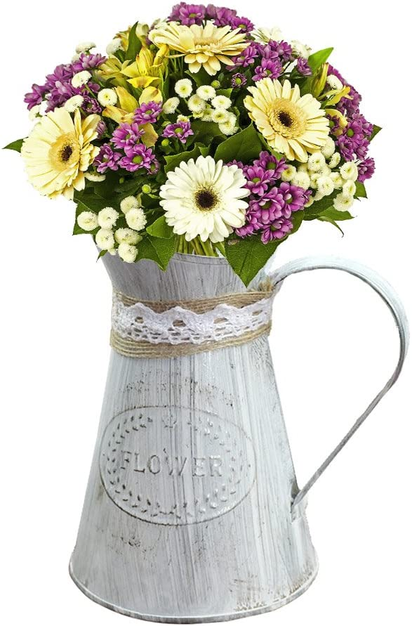 SHZONS Rustic Metal Farmhouse Pitcher Vase, French Style Country Iron Pitcher Primitive Jug Vase,Tinplate Watering Can Kettle Painted Garden Flower Pot Plant Planter Home Decor