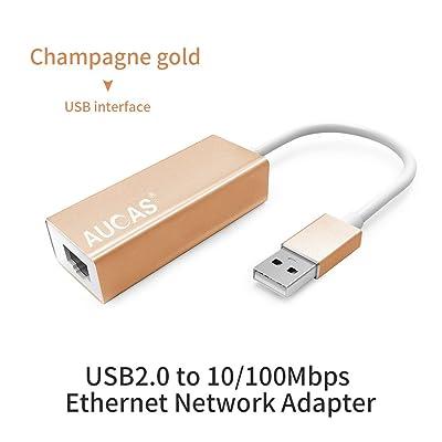 Adaptateur Ethernet RJ45 avec adaptateur de réseau Ethernet câblé USB 2.0 / 3.0 vers Gigabit -USB vers adaptateur de carte LAN Ethernet (100Mbps USB2.0 Champagne Gold)