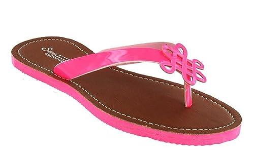 Damen l6729 Fuchsia Patent Cut Out Trim Zehensteg Sandale