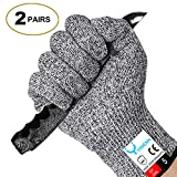 YINENN 2 Pairs (4 Gloves) Cut Resistant Gloves Food Grade Level 5 Hand Protection,Kitchen Cut Gloves for Oyster Shucking,Fish Fillet Processing,Mandolin Slicing,Meat Cutting,Wood Carving-(Large)