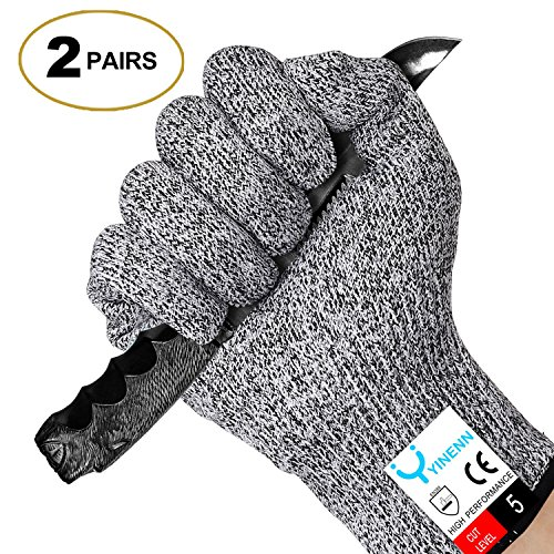 YINENN 2 Pairs Cut Resistant Gloves Food Grade Level 5 Hand Protection,Kitchen Cut Gloves for Oyster Shucking,Fish Fillet Processing,Mandolin Slicing,Meat Cutting,Wood Carving-(Medium)
