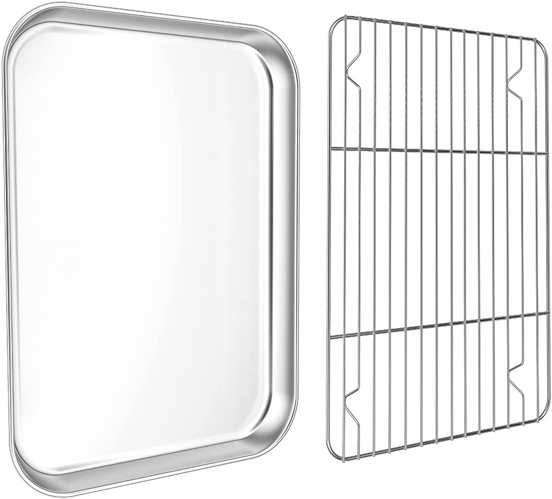 Small Baking Sheet with Rack Set,WKTFOBM Stainless Steel Toaster Oven Tray with Cooling rack(10.8 x 8.4 x 1.37 Inch), Heavy Duty Small Oven Pan & Cookie Sheets for Baking