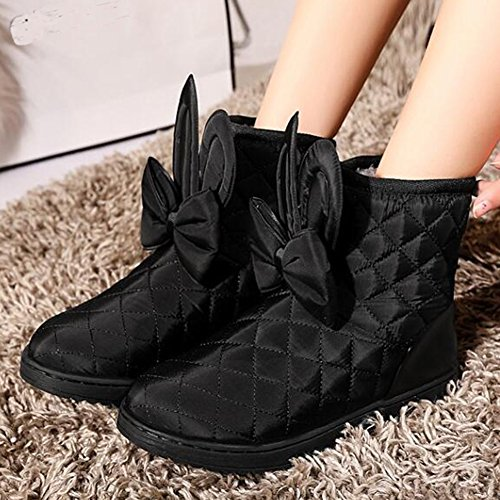 Women's Snow Boots Round Shoes Short Slip Flats Ear Plaid on Ankle Toe Booties Cute Black Bowknot Summerwhisper dw6ZfBOqO