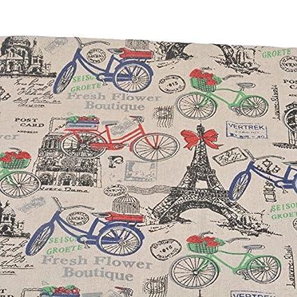 Tela de algodon retro de lino Paris en bicicleta para tapizar sillas descalzadoras para manualidades, costura cojines guirnaldas caravanas escaparates ...