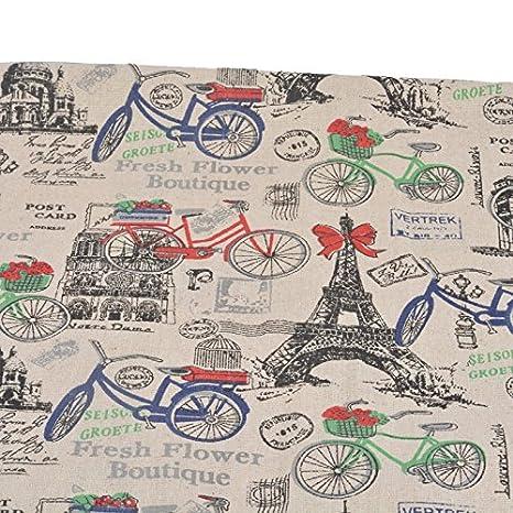 Tela de algodon retro de lino Paris en bicicleta para tapizar sillas descalzadoras para manualidades,