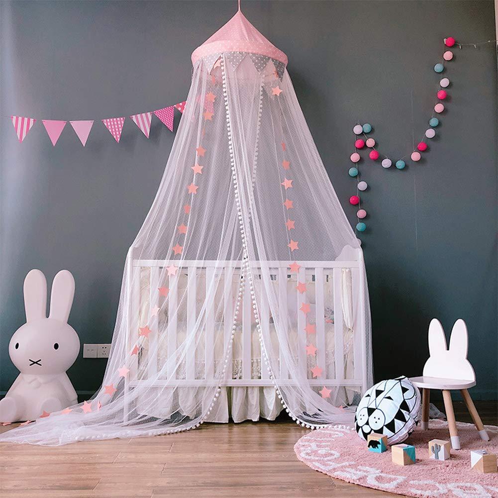 SJLED Betthimmel Mädchen Princess Dome Moskitonetz größere Dekoration Zum Aufhängen Nook Zelt für Baby Kinder, 299,7x 58,4cm (Pink) 7x 58 4cm (Pink) 10302