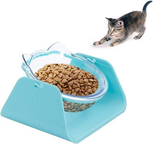 GOODFORALL Cuenco Elevado Inclinado para Gato, Cuenco de Agua para ...