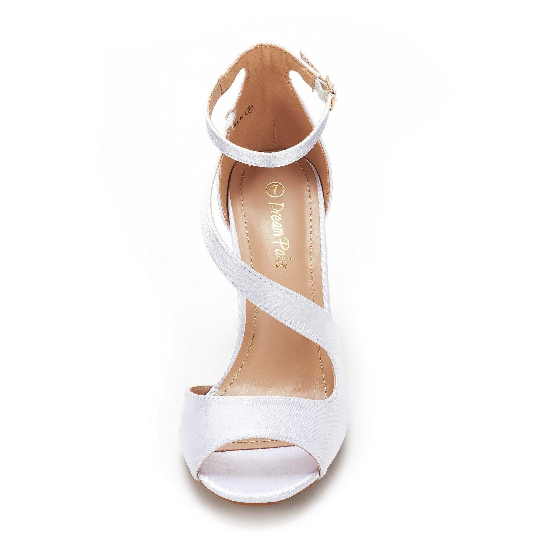 DREAM PAIRS Women's NILE White Satin Fashion Stilettos Open Toe Pump Heel Sandals Size 9.5 B(M) US by DREAM PAIRS (Image #4)