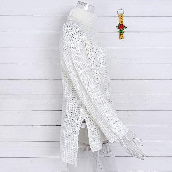 Longra ☂☂ ☂☂❤ ❤ Escote Alto de Invierno Manga Larga de Punto sólido suéter Blusa para Las Mujeres: Amazon.es: Ropa y accesorios
