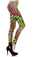 Neon Nation Multi Color Animal Print Bright Leggings 1980s Pants Zebra Cheetah Costume