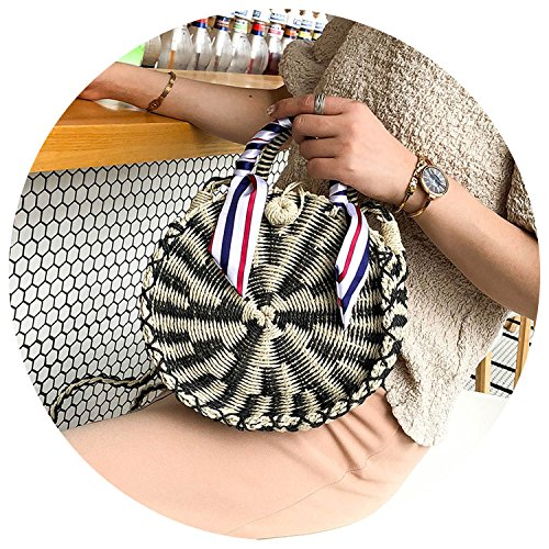 woven portable bag shoulder straw female slung beach braided Summer one bag natural round 2018 Black fqWC7xzw