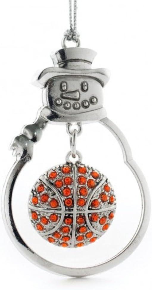 MadSportsStuff Christmas Basketball Ornament with Crystal Charm