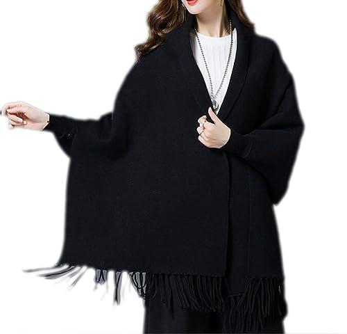 QPALZM Cárdigan De Punto De Mujer Bordado Manga De Murciélago Suéter Mantones De Abrigo Borla De Abrigo