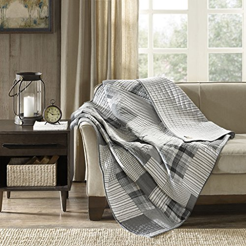 Riverview Oversized Cotton Quilted Throw Gray 50x70