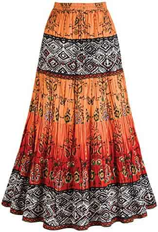 Women s Crinkle Broom Skirt - Chesca Coral Orange   Red Tribal Pattern 5f6ee6b74