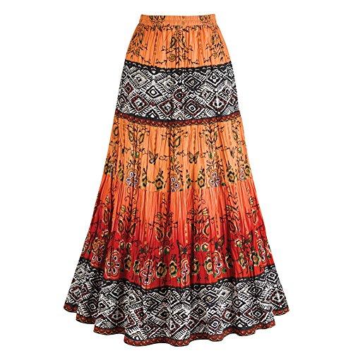 Women's Crinkle Broom Skirt - Chesca Coral Orange & Red Tribal Emulate - 3X