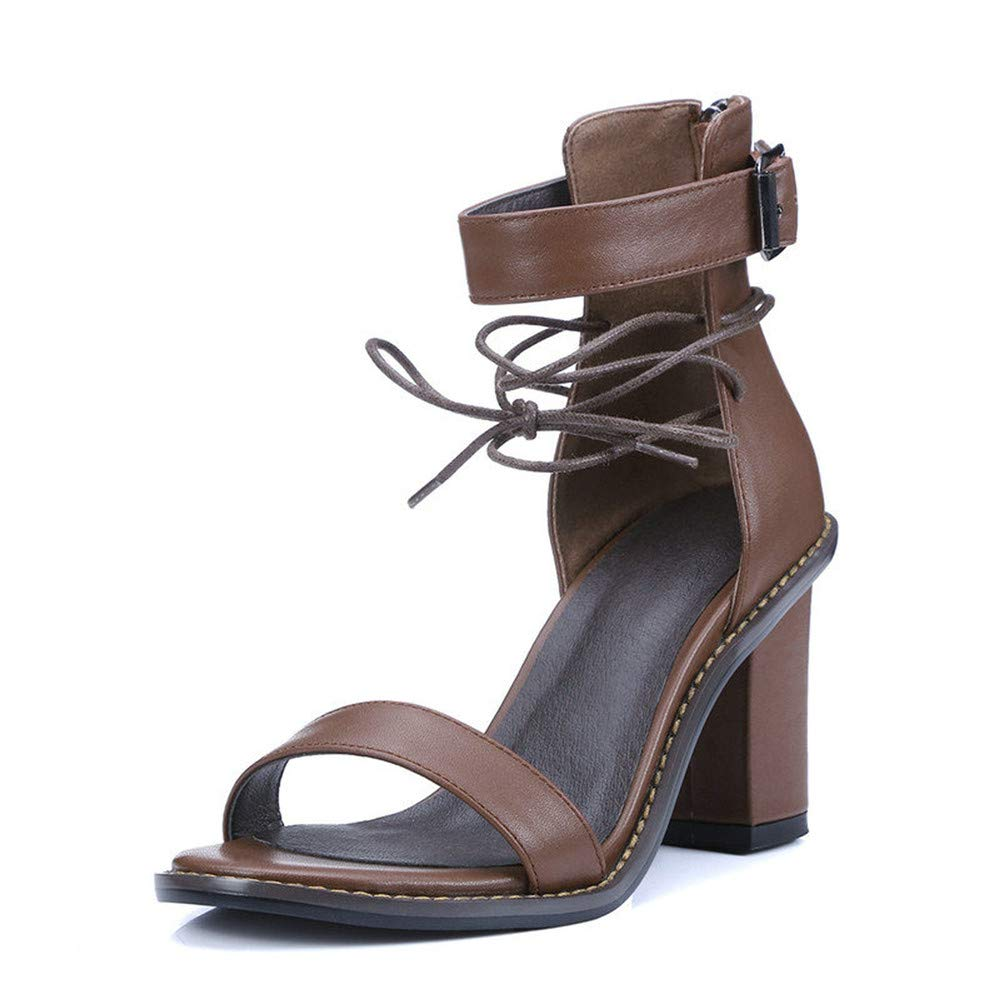 Brown GAO-GEN1 Women Sandal Square High Heel Summer Zipper Brown Women shoes Genuine Leather Ladies Wedding shoes Size 34-39