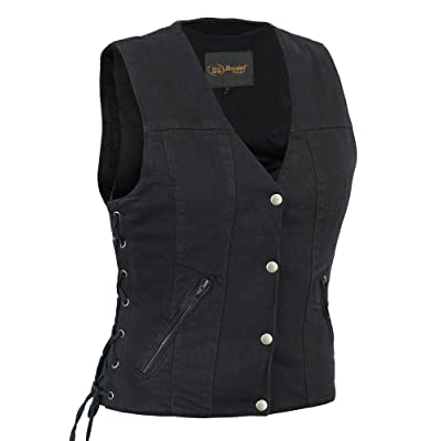 Daniel Smart Womens Motorcycle Light Weight Blk Side Lace Denim Gun Pocket Classic Plain Vest