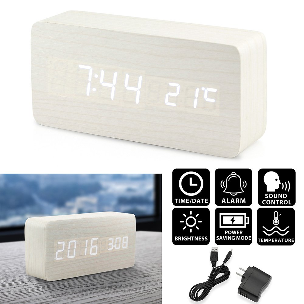 Oct17 Wooden Digital Alarm Clock, Wood Fashion Multi-function LED Alarm Clock with USB Power Supply, Voice Control, Timer, Thermometer - White by Oct17