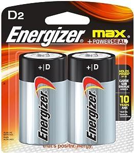 Energizer Max D Batteries, Double-pack E95BP-2 Alkaline, 1 Pack of 2
