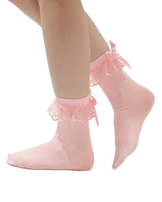 Vintage Inspired Lingerie Anklet Socks Ruffled Bow 4 Color Options Red Pink Black White $7.49 AT vintagedancer.com
