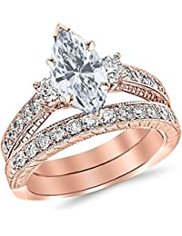 1.53 Ctw 14K White Gold GIA Certified Marquise Cut Three Stone Vintage With Milgrain & Filigree Bridal Set with Wedding Band & Diamond Engagement Ring, 0.5 Ct D-E VVS1-VVS2 Center