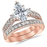 1.53 Ctw 14K Rose Gold GIA Certified Marquise Cut Three Stone Vintage With Milgrain & Filigree Bridal Set with Wedding Band & Diamond Engagement Ring, 0.5 Ct D-E VVS1-VVS2 Center