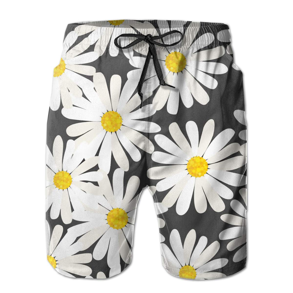 MIPU SHANGMAO Mens Little Daisy Summer Beach Shorts Leisure Quick Dry Swimming Pants