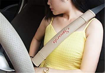 Short, Brown Fochutech 2Pcs Car Sport Seat Belt Shoulder Pad Strap Cover Adjuster Protector Comfortable Driving
