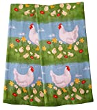Set of 2 Easter Spring Decorative 100% Cotton Kitchen Towels (Country Farmyard Rooster Chicks)